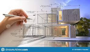 Villa Sketch Design Hand Sketching A Designer Villa With Pool Stock Illustration