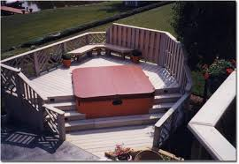 above ground pool with deck and hot tub. Sunken Tub Deck 2 Above Ground Pool With Deck And Hot Tub E