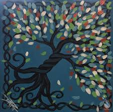 how to paint tree of life on blue square canvas