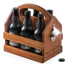 to go 6 pack wood beverage bottle caddy w bottle opener