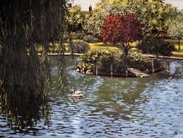 oil painting of island with swan in boston public garden by jeffrey dale starr