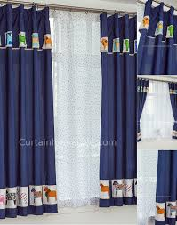 Kids Bedroom Curtain Short Window Curtains Adorable Dark Blue Animal Patterns Bedroom