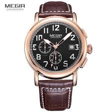 wrist watch companies promotion shop for promotional wrist watch megir mens chronograph leather strap quartz wrist watches fashion luminous round dial black wristwatch for man male 2031