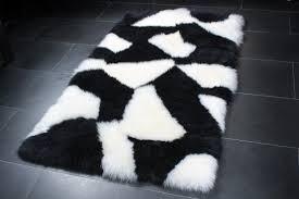 black sheepskin rug. Sheepskin Rug In Black \u0026 White