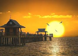 Sunset At Naples Pier At Naples Beach Florida After The Rain