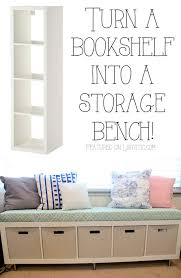 turn a bookshelf into a cute storage bench easy diy furniture makeovers and ideas