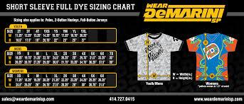 Men S Xs T Shirt Size Chart Sizing Charts Demarini