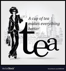 Fashion Girl In Sketch Style With Cup Of Tea Vector Image On Vectorstock