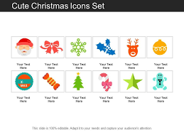 Cute Christmas Icons Set Powerpoint Templates Backgrounds