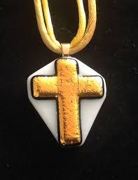 our faith glass cross pendant