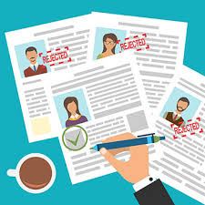 Shutterstock image (by Mad Dog): approval stamp, resume review.