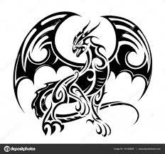 тату дракон трайбл дракон тату дизайн векторное изображение