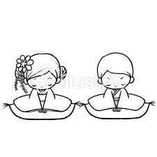正月着物男の子女の子新年の挨拶線画塗絵イラスト No 970174無料