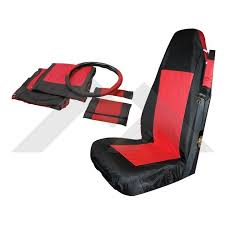 front seat cover set black red rt