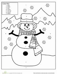Small Picture Snowman Color by Number Worksheet Educationcom