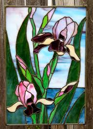 stained glass sunflower stained glass bearded iris