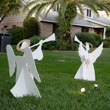 reindeer and angel wooden yard decorations diy