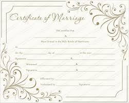 Wedding Certificate Template Awesome Marriage Certificate Template Write Your Own Certificate