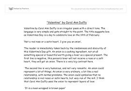 valentine by carol ann duffy is an irregular poem a direct document image preview
