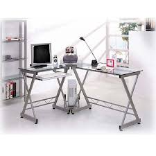 deluxe ergonomic l shaped computer desk workstation clear tempered glass 0
