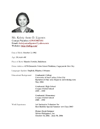 Template Filipino Resume Sample Beautiful High School Student Format