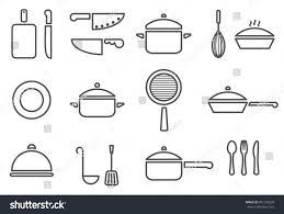 Vector kitchenware line icon set cookware trendy design