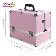 makeup case large pink cosmetic organizer train cases box with 4 trays