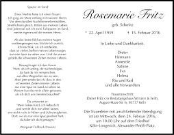 Traueranzeigen von Rosemarie Fritz | WirTrauern