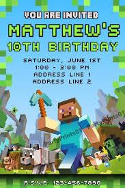 Party Invitations Minecraft Birthday Party Invitations