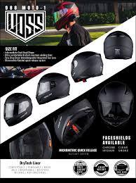 Voss 988 Moto 1 Street Full Face Helmet With Drop Down Internal Sun Lens Xl Solid Matte Black