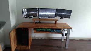 Small Diy Computer Desk Table With Butcher Block Top And Cpu Stand Cabinet  Plus Keyboard