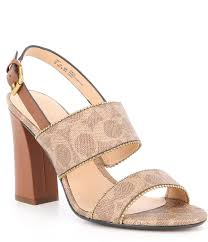Coach Rylie Leather Block Heel Dress Sandals