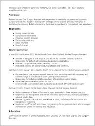 Resume Templates: Oral Surgery Assistant