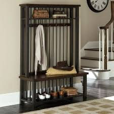 Hallway Coat Rack And Bench Magnificent Hallway Coat Rack Bench Wood And Metal Entryway Hall Tree Coat Rack