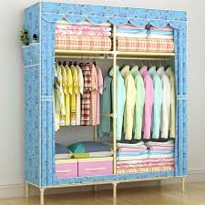 hhaini portable super large family wardrobe clothes closet painted steel pipe cabinet heavy duty home storage organizer rack wardrobe closet clothes