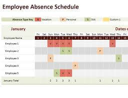 Vacation Calendar Templates Employee Absence Schedule
