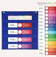 Classroom Pocket Charts Daily Schedule Cards For Pocket Charts Printable Customizable Colorful Rainbow Bunting Classroom Teacher Resources