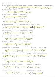 chemical word equations worksheet answers
