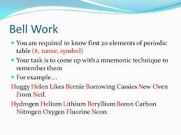 Bell Work You are required to know first 20 elements of periodic ...