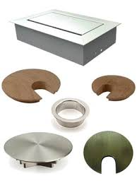 examples of metal and wood desk grommets