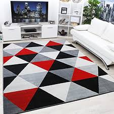 modern contemporary diamond black grey cream red very funky extra large rug 120x170cm b01blirtfs
