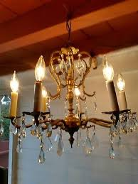 antique vintage spanish ornate 6 arm brass chandelier hanging light fixture