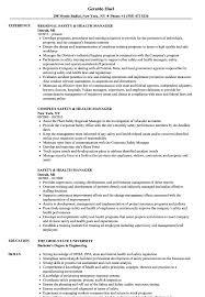 Safety Manager Resume Safety Health Manager Resume Samples Velvet Jobs
