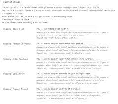 woomerce gift certificates message header settings