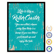 Life Is Like A Roller Coaster Quote Saying Framed Canvas Print Gift Ideas  Home Decor Wall