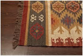 southwestern flat weave multi handmade wool jute rug 22084