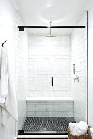 white shower walls with black hex floor tiles subway for bathroom tile bathtub