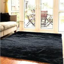 black faux fur rug large area