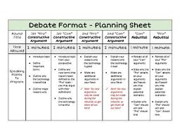 Debate Format Planning Sheet Tool For Teaching Students To Debate