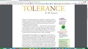 Essay On Tolerance Tolerance By E M Forster Youtube